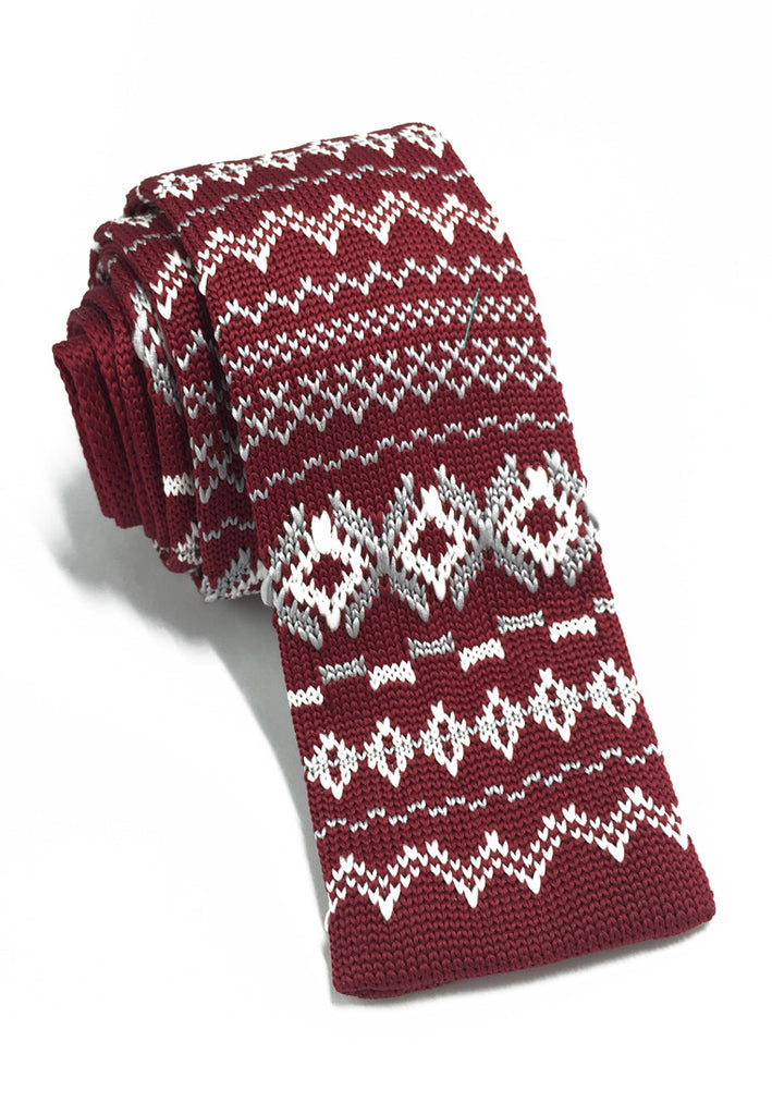 Stencil Series White Patterned Red Knitted Tie