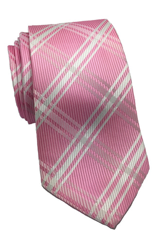 Checkerboard Series Pink Checked Design Silk Tie