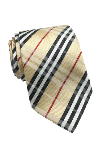 Checkerboard Series Gold Checked Design Silk Tie