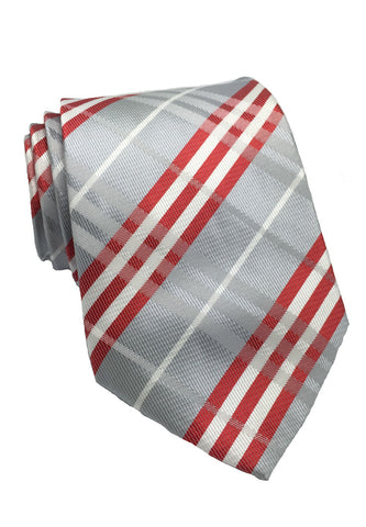 Checkerboard Series Silver Checked Design Silk Tie