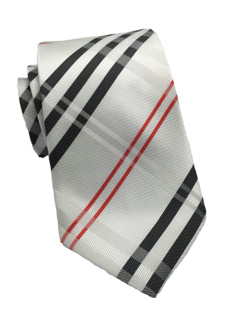 Checkerboard Series Red & White Checked Design Silk Tie