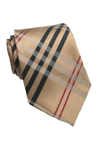 Checkerboard Series Rose Gold Checked Design Silk Tie