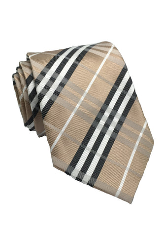 Checkerboard Series Bronze Checked Design Silk Tie