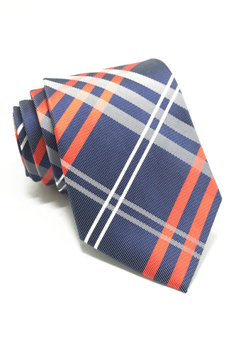 Checkerboard Series Navy Blue Checked Design Silk Tie