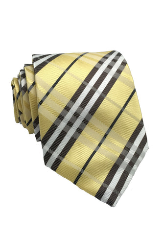 Checkerboard Series Yellow Checked Design Silk Tie