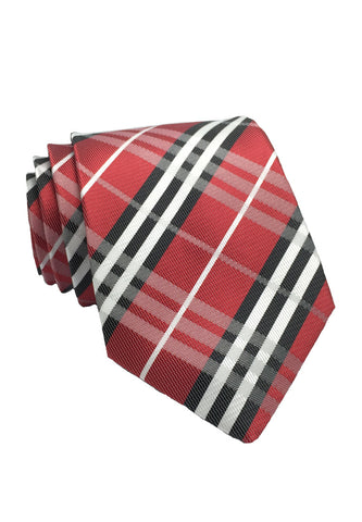 Checkerboard Series Red Checked Design Silk Tie