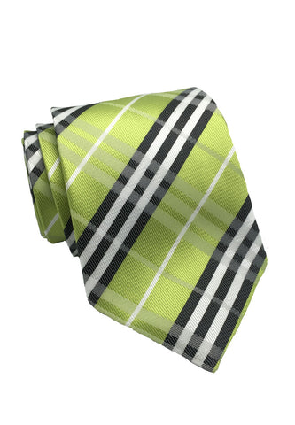 Checkerboard Series Lime Green Checked Design Silk Tie