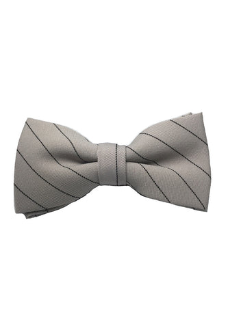 Bars Series Black Stripes Greyish Beige Cotton Pre-Tied Bow Tie