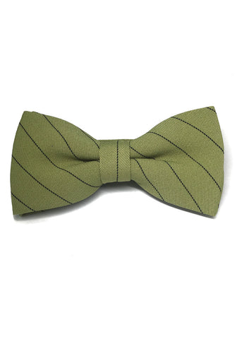 Bars Series Black Stripes Light Army Green Cotton Pre-Tied Bow Tie