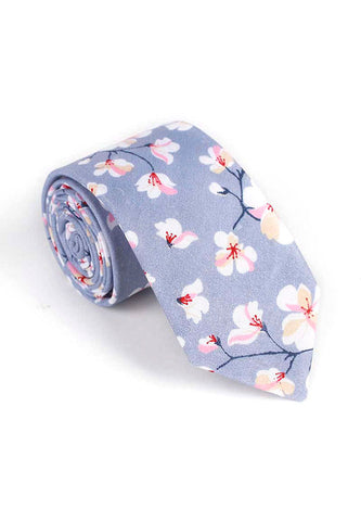 Bud Series Sakura Design Grey Neck Tie