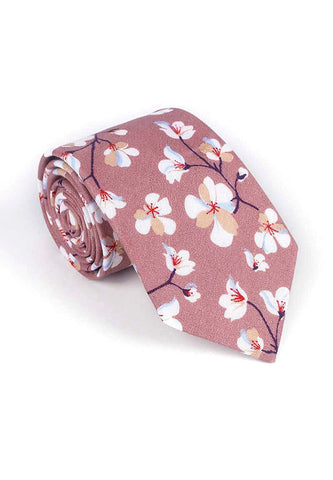Bud Series Sakura Design Plum Purple Neck Tie