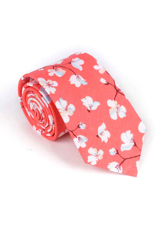 Bud Series Sakura Design Bright Pink Neck Tie
