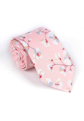 Bud Series Sakura Design Light Pink Neck Tie