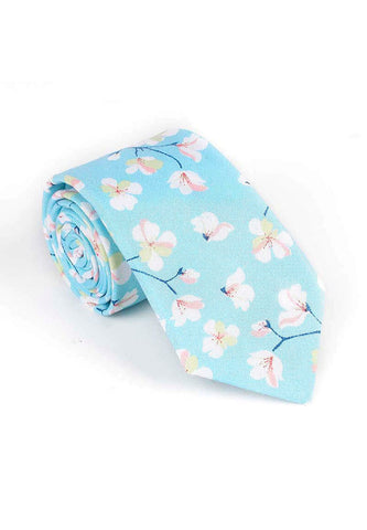 Bud Series Sakura Design Turquoise Blue Neck Tie