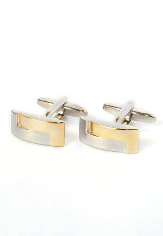 2 Tone Brushed Interlocked Cufflinks