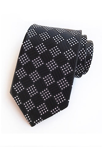 Checky Series Black & White Neck Tie