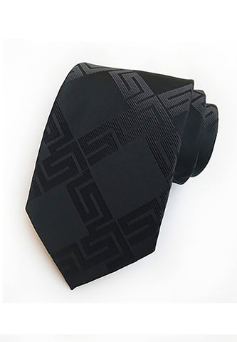 Checky Series Black Neck Tie 2