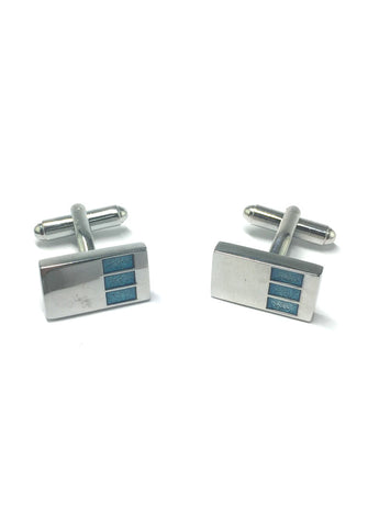 3 Blue Rectangle Design Silver Rectangular Cufflinks