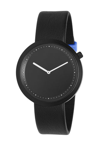 Bulbul Facette Black Steel on Black Italian Leather Watch