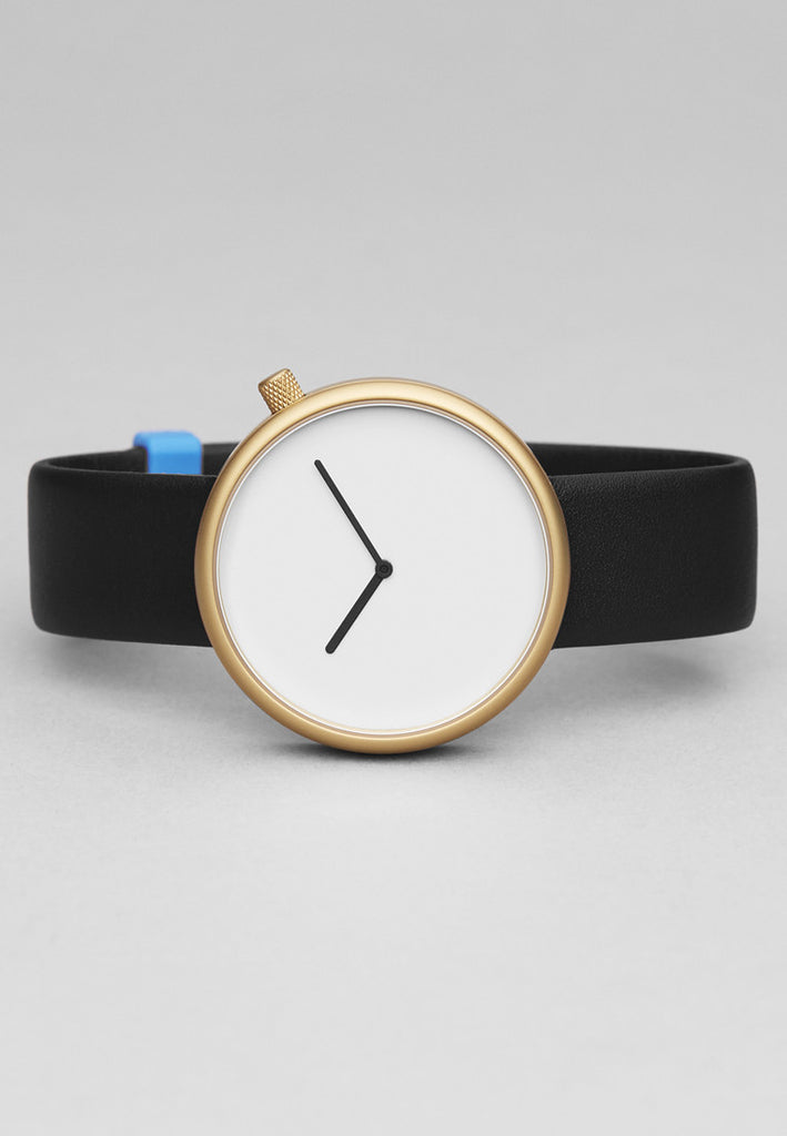 Bulbul Ore Matte Golden Steel on Black Italian Leather Watch