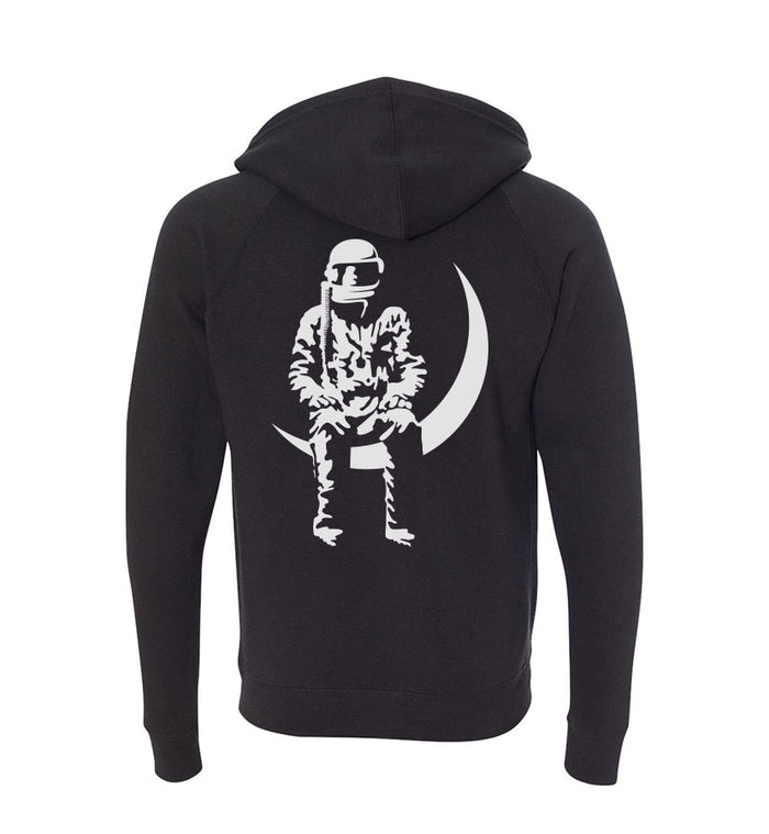 Moon Man Unisex Zip-Up Hoodie Black