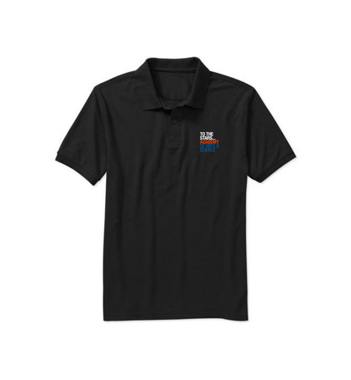 To The Stars... Academy Of Arts & Science Text Logo Polo Black - To The Stars...