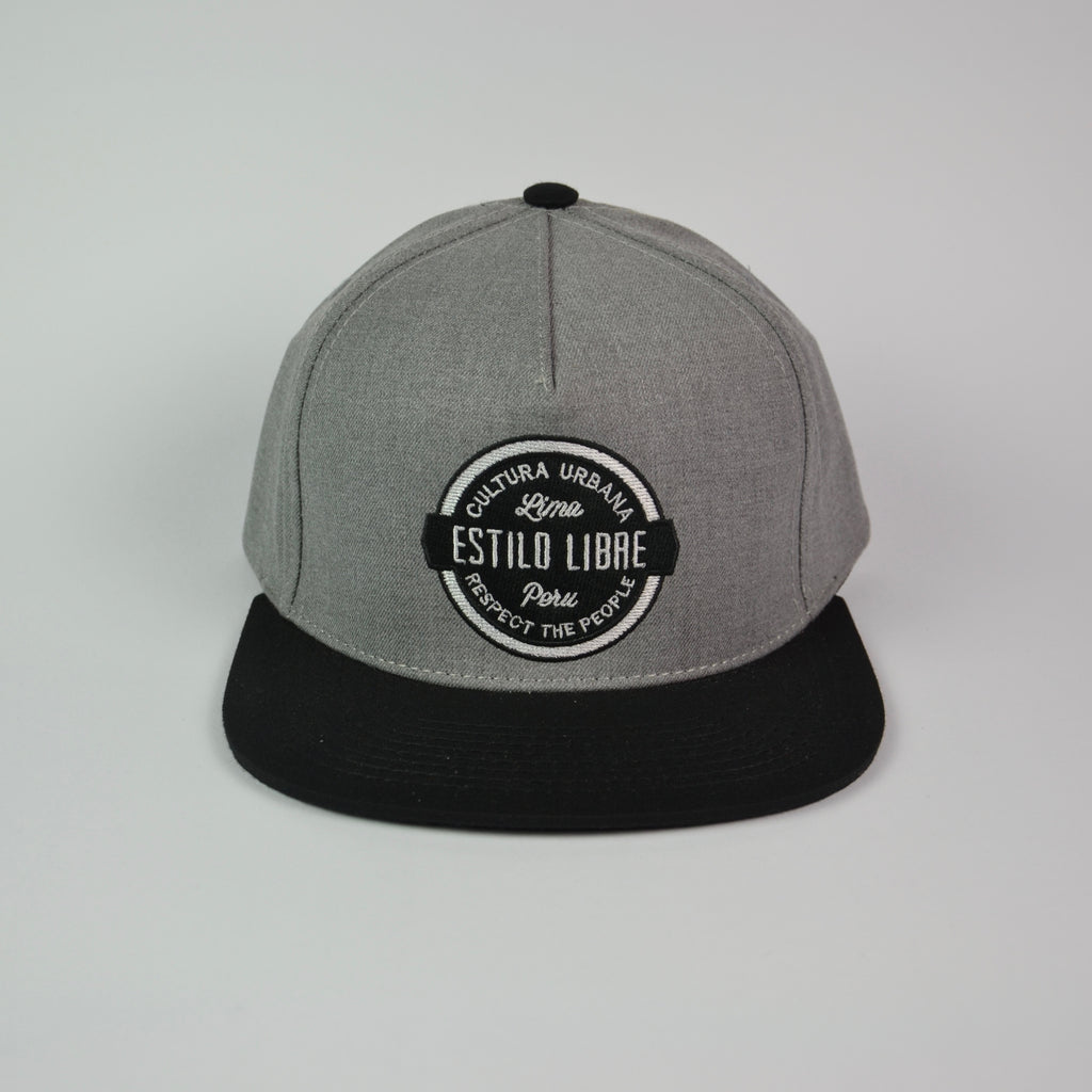 Snapback cap heatered grey and black