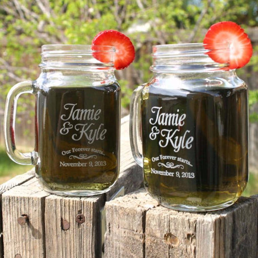"Engagement Mason Jars ""Our Forever Starts"" - ScissorMill"