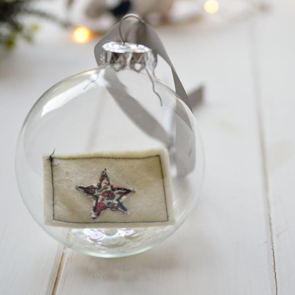 'Believes' Personalised Glass Bauble - Handmade Poshyarns