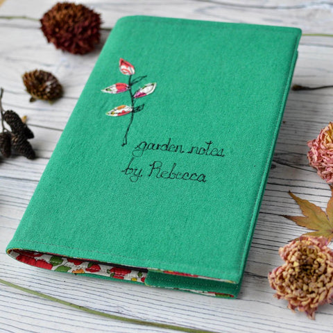 Personalised Linen 'Garden Notes By' Journal - Handmade Poshyarns