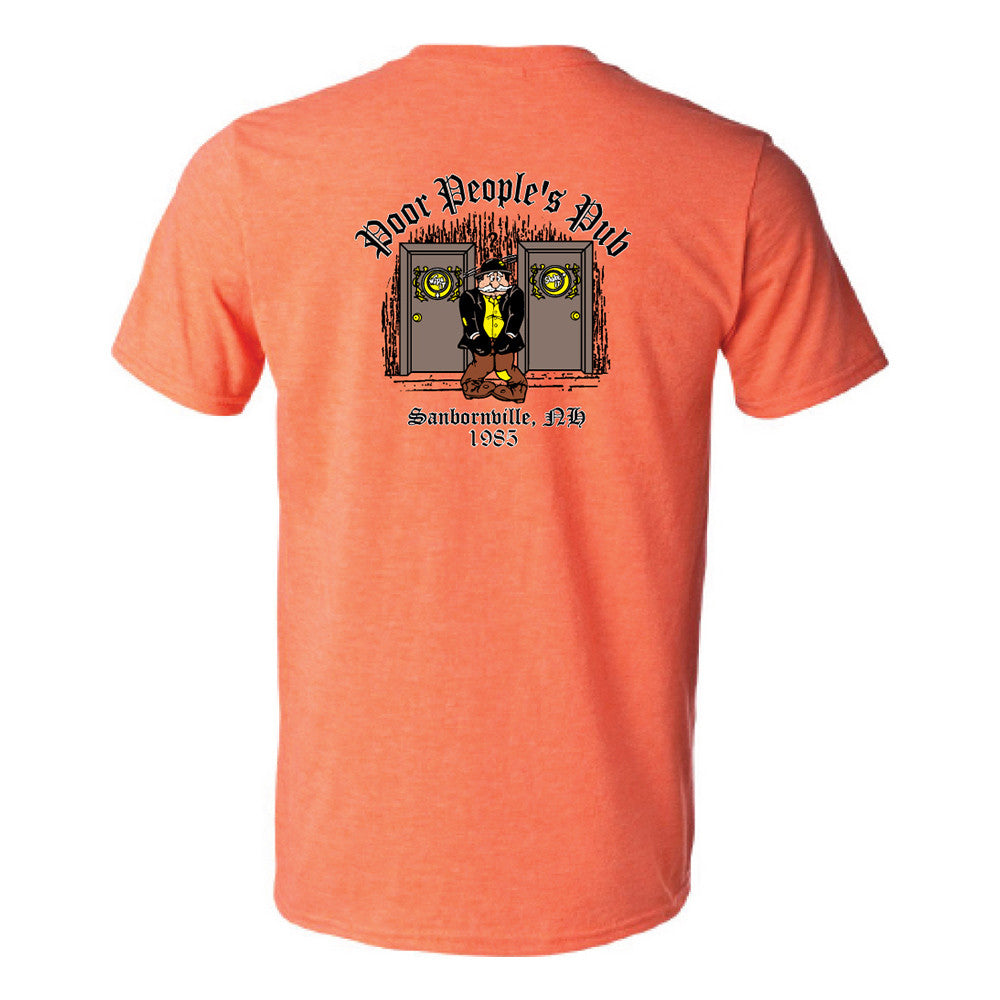 "Poor People's Pub 1985 ""Wipe It, Shake It"" T-Shirt in Heather Orange"