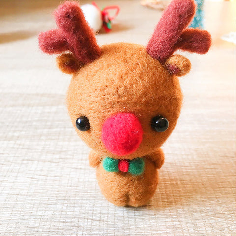 Handmade Needle felted reindeer Rudolph felting kit project Christmas cute for beginners starters
