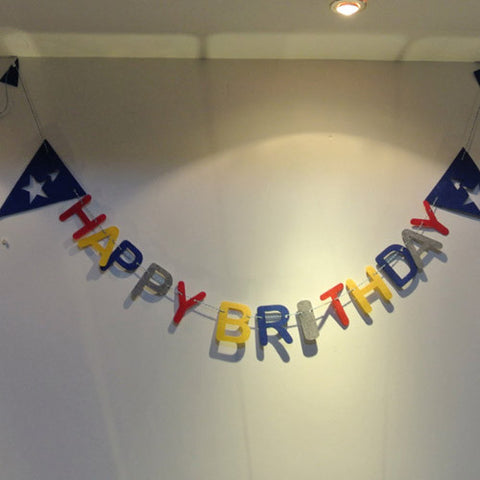 Felt birthday flag Captain America banner kids Baby Birthday Party kid room decor Garland