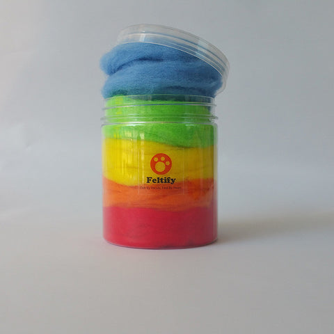 Felting Wool For Needle Felting Wool Roving Wet Felt Rainbow Short Fiber