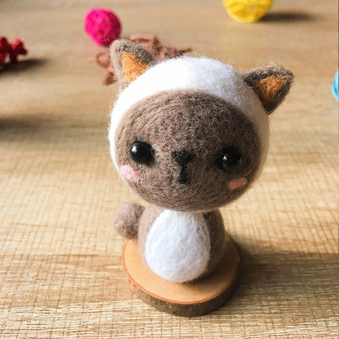 Handmade Needle felted cat felting kit project Animals cat cute for beginners starters