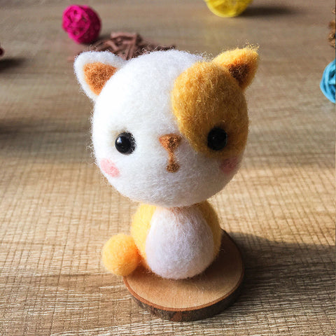 Handmade Needle felted felting cat kit project Animals cute for beginners starters