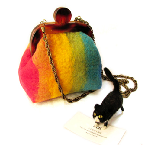 Handmade needle felted cute rainbow project purse vintage shoulder corssbody bag