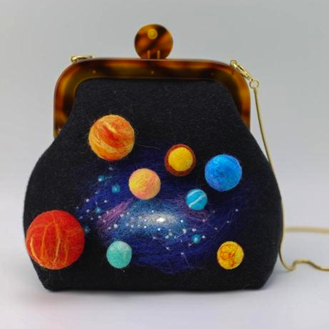 Handmade needle felted cute galaxy solar system project purse vintage shoulder corssbody bag