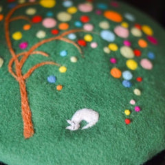 Handmade felted needle felted Green spotted tree wool Hat beret winter hat