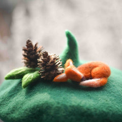 Handmade felted needle felted green fox The Starry Night wool Hat beret winter hat