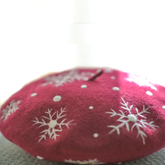 Handmade felted needle felted snow red wool Hat beret winter hat