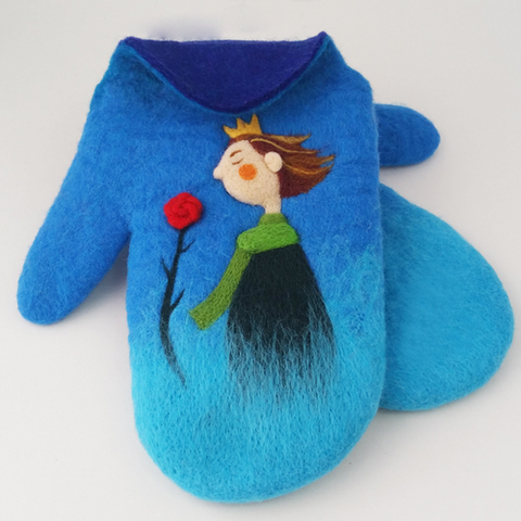 Handmade needle felted felted cute Blue gloves The Little Prince