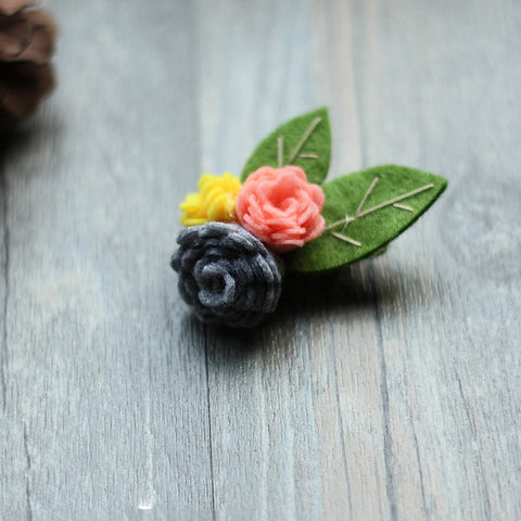 Felted Crafts Flower Camellia Jewelry Brooch Hair Clip