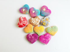 Needle Felting Crafts Heart Colorful Jewelry Brooch Hair Clip