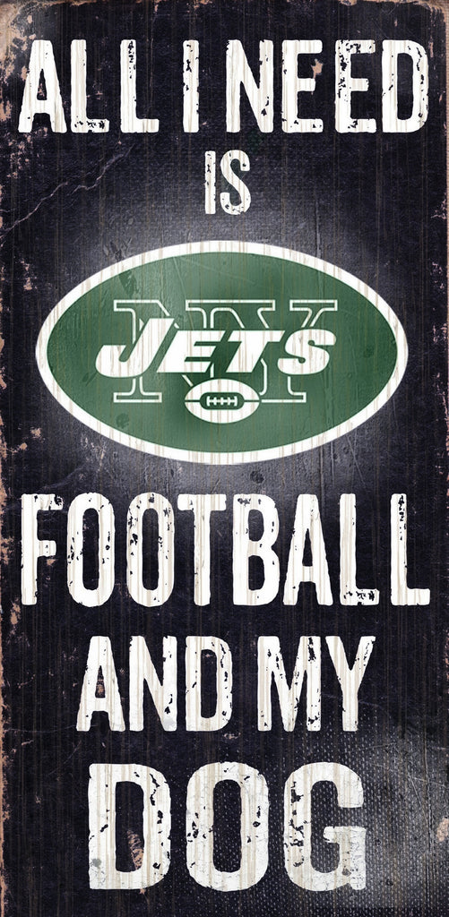 New York Jets Wood Sign - Football and Dog 6x12