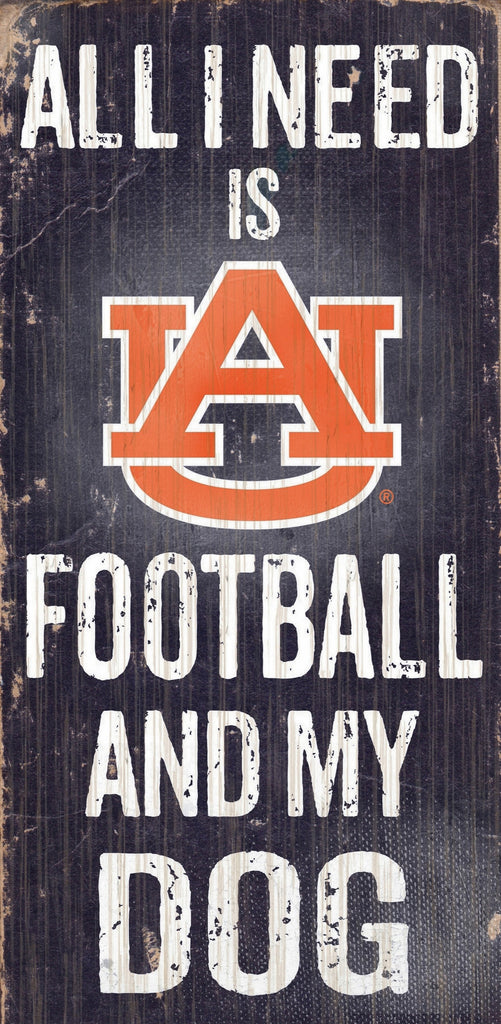 Auburn Tigers Wood Sign - Football and Dog 6x12
