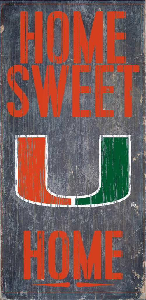 Miami Hurricanes Wood Sign - Home Sweet Home 6x12