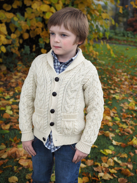 Boys Shawl Collar Cardigan - Natural