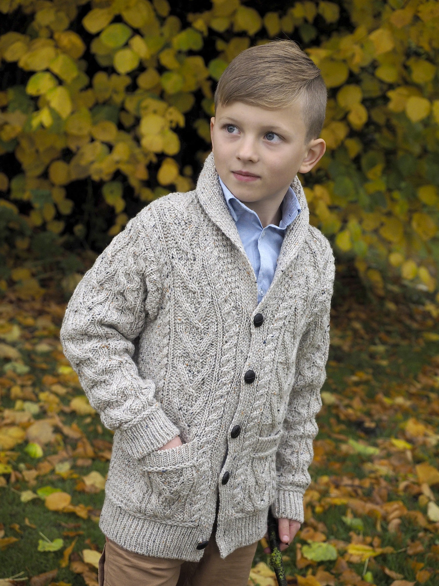 Boys Shawl Collar Cardigan - Oatmeal