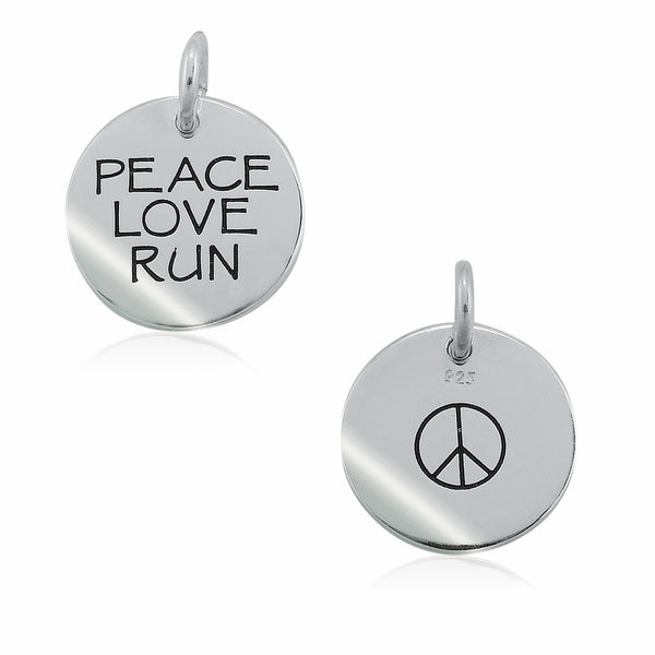 Peace Love Run Double-Sided Charm